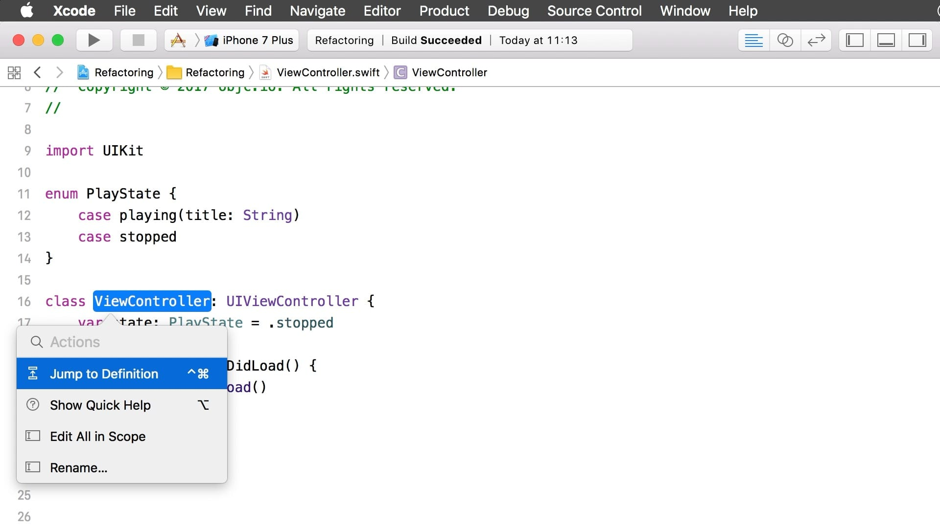 Refactoring with Xcode 9 - Swift Talk - objc io